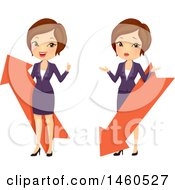 June 21st, 2017: Clipart Of A Short Haired Brunette Caucasian Business Woman With Up And Down Arrows Royalty Free Vector Illustration by BNP Design Studio
