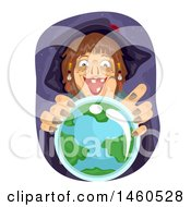 Clipart Of A Scary Witch Over A Crystal Ball With Earth Royalty Free Vector Illustration