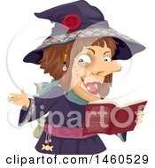 Clipart Of A Witch Reading A Book Royalty Free Vector Illustration