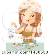 Clipart Of A Gypsy Woman Making A Dreamcatcher Royalty Free Vector Illustration