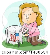 Clipart Of A Cartoon Sad Woman Kneeling And Placing Flowers On A Grave Royalty Free Vector Illustration