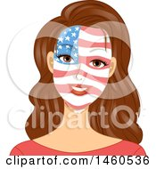 Poster, Art Print Of Patriotic Brunette Caucasian Woman With An American Flag Painted On Her Face