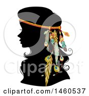 Clipart Of A Silhoeutted Woman With A Boho Feather Hair Accessory Royalty Free Vector Illustration