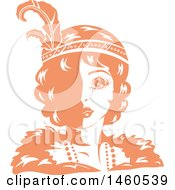 Clipart Of A Retro Orange And White Flapper Girl Wearing A Feathered Headband Royalty Free Vector Illustration