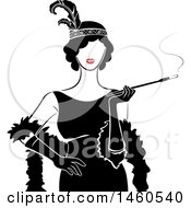 Clipart Of A Retro Flapper Girl Woman Holding A Cigarette On A Long Filter Royalty Free Vector Illustration