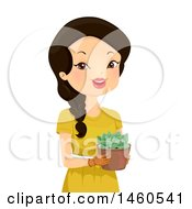 Clipart Of A Happy Woman Holding A Potted Succulent Graptoveria Moonglow Plant Royalty Free Vector Illustration