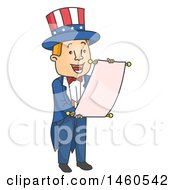 Clipart Of A Cartoon Uncle Sam Reading An Announcement Royalty Free Vector Illustration by BNP Design Studio