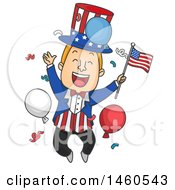 Poster, Art Print Of Cartoon Uncle Sam Jumping And Celebrating