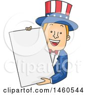 Clipart Of A Cartoon Uncle Sam Holding A Blank Sign Royalty Free Vector Illustration by BNP Design Studio