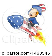 Clipart Of A Cartoon Uncle Sam Flying On A Rocket Royalty Free Vector Illustration