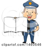 Clipart Of A Cartoon Caucasian Police Man Holding Out A Book Royalty Free Vector Illustration
