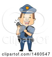 Clipart Of A Cartoon Caucasian Police Man Holding A Ringing Phone Royalty Free Vector Illustration