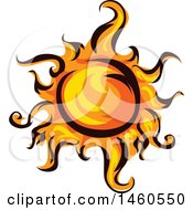 Clipart Of A Fiery Sun Royalty Free Vector Illustration