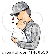 Clipart Of A Sketched Army Soldier Father Holding A Newborn Baby Royalty Free Vector Illustration by BNP Design Studio