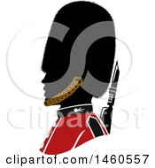 Clipart Of A Silhouetted British Royal Guard Soldier In Profile Royalty Free Vector Illustration by BNP Design Studio