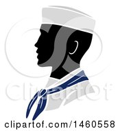 Clipart Of A Silhouetted Navy Soldier In Profile Royalty Free Vector Illustration by BNP Design Studio