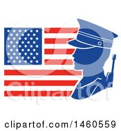 Clipart Of A Silhouetted Male Soldier Against An American Flag In Profile Royalty Free Vector Illustration by BNP Design Studio