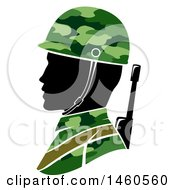 Clipart Of A Silhouetted Male Army Soldier In Profile Royalty Free Vector Illustration by BNP Design Studio