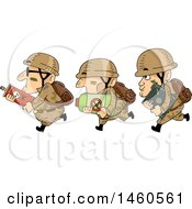 Clipart Of A Row Of Running Male Soldiers With Pesticides Royalty Free Vector Illustration by BNP Design Studio