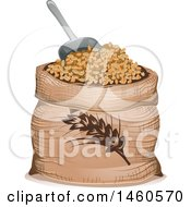 June 21st, 2017: Clipart Of A Wheat Sack And Scoop Royalty Free Vector Illustration by BNP Design Studio