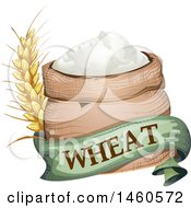 June 21st, 2017: Clipart Of A Wheat Flour Sack With A Banner And Stalk Royalty Free Vector Illustration by BNP Design Studio