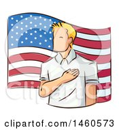 Clipart Of A Sketched Man Pledging Allegiance To The American Flag Royalty Free Vector Illustration