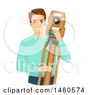 June 21st, 2017: Clipart Of A Happy Caucasian Male Surveyor With A Tripod And Theodolite Royalty Free Vector Illustration by BNP Design Studio