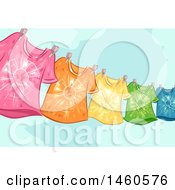 Clipart Of A Clothesline With Colorful Tie Dye Shirts Royalty Free Vector Illustration