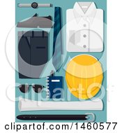 Clipart Of An Engineer Uniform With Hard Hat Sunglasses Notebook Pen And Blue Print Royalty Free Vector Illustration