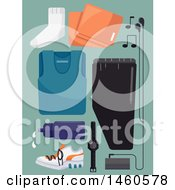 Clipart Of Exercising Gear With A Water Bottle Towel And Music Player Royalty Free Vector Illustration