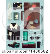 Male Fashion Elements For Travel Including Luggage Camera Shirt Sunglasses Wallet Mobile And Passport