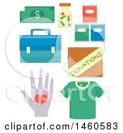 June 21st, 2017: Clipart Of Donation Elements Like Cash Medicine Groceries First Aid Kit Box Of Donations Clothing And Voluntary Service Royalty Free Vector Illustration by BNP Design Studio