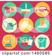 Clipart Of Common Household Chore Icons Like Laundry Sweeping Car Wash Watering Plants Cleaning Dishes Vacuum Groceries And Emptying Trash Royalty Free Vector Illustration