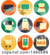 Clipart Of Shopping Icons Like Credit Card POS Dress Shirt Money Shopping Bag Shopping Cart Mobile And Sale Royalty Free Vector Illustration