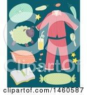 Poster, Art Print Of Pajamas Pillows Sheep Orange Juice Feather Hair Brush And Diary
