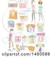 June 21st, 2017: Clipart Of Sketched Clothing Shops Boutiques Sales Tag And People Royalty Free Vector Illustration by BNP Design Studio