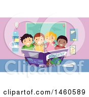 Poster, Art Print Of Group Of Children Reading A Geography Book