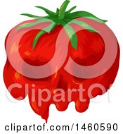 Clipart Of A Gmo Tomato With A Skull Face Royalty Free Vector Illustration