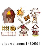 Clipart Of A Barn And Farm Design Elements Royalty Free Vector Illustration