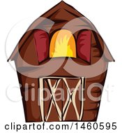 Clipart Of A Brown Barn Royalty Free Vector Illustration by BNP Design Studio