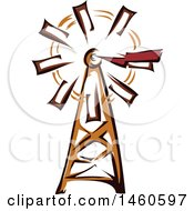 Clipart Of A Farm Windmill Royalty Free Vector Illustration by BNP Design Studio