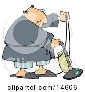 Chubby Man In A Robe Pjs And Slippers Using A Vacuum To Clean His Carpet In His Home
