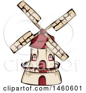 Clipart Of A Windmill Royalty Free Vector Illustration by BNP Design Studio