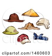 Clipart Of Farming And Gardening Hats Royalty Free Vector Illustration