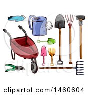Clipart Of Gardening Tools Royalty Free Vector Illustration