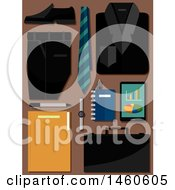 Clipart Of A Business Suit Neck Tie Shoe Briefcase Tablet Notebook And Pen On Brown Royalty Free Vector Illustration