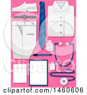 Clipart Of A Medical Uniform With Stethoscope Chart Medicine And Prescription Paper Royalty Free Vector Illustration