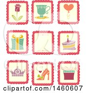 Clipart Of Sticker Styled Designs With A Rose Gift Cake Crown Shoe Cake Balloon And Cup Royalty Free Vector Illustration