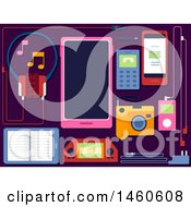 Clipart Of A Headset Tablet Mobile Phone Camera MP3 Player Pen And Cables Royalty Free Vector Illustration