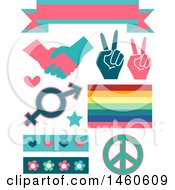 Gender Equality Signs And Elements Like A Ribbon Handshake Peace Sign Rainbow Hearts And Flowers